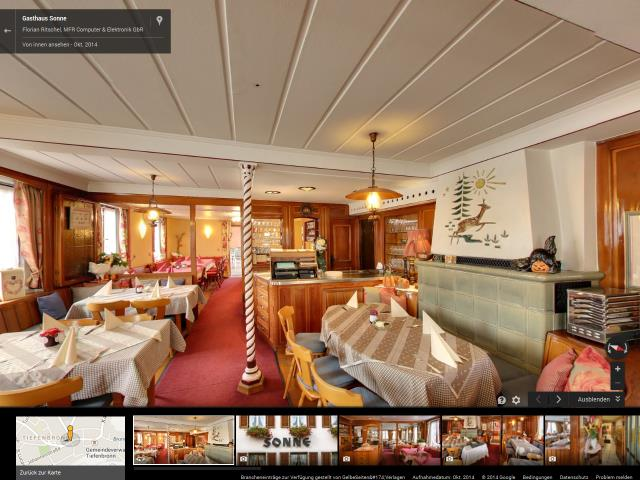 360 Panorama Google Business View Gasthaus Sonne, Tiefenbronn